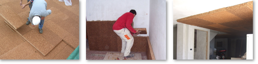 Thermal insulation cork panels